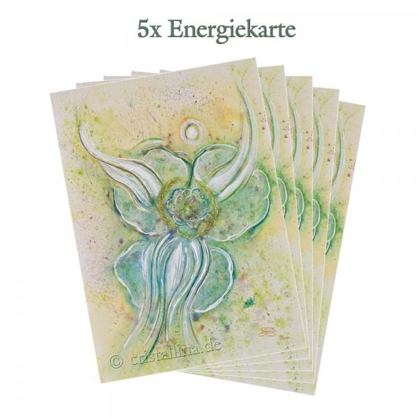 5er-Pack - Energiekarten - Erblühender Seelenkristall