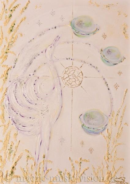 Kosmischer Ruf - 50 x 70 cm - Original-Bild auf Leinwand-Keilrahmen