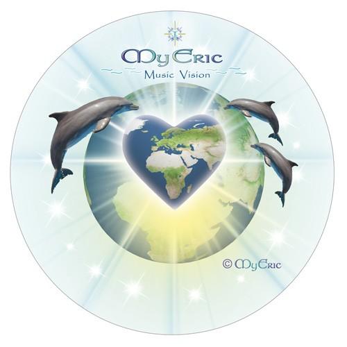"""Aufkleber """"Die Liebe des Planeten Erde"""" mit energetischem Logo und Design von MyEric"""