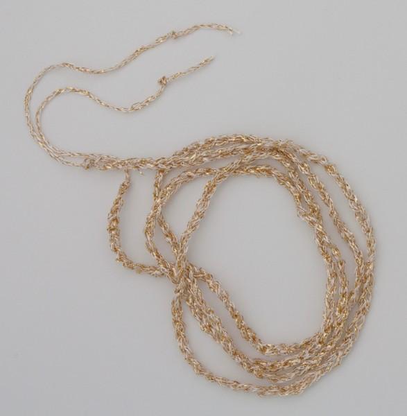 80 cm champagnerfarbenes gehäkeltes Band aus metallisiertem Garn