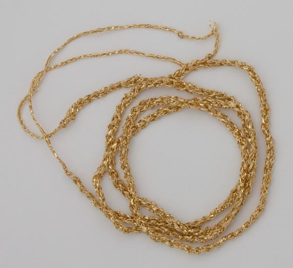 80 cm goldfarbenes gehäkeltes Band aus Gold-Effektgarn