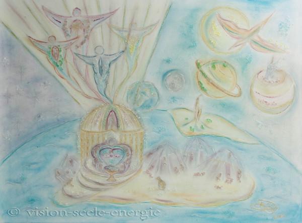 Kosmische Befreiung - 80 x 60 cm - Original-Bild auf Leinwand-Keilrahmen