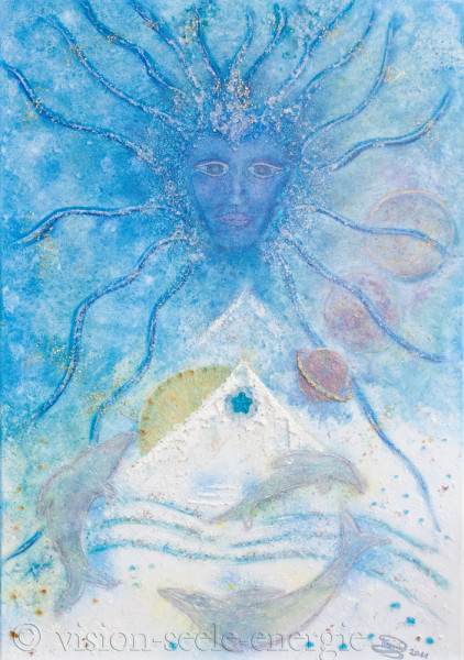 Das Sternentor zur kosmischen Wiedergeburt - 70 x 100 cm - Original-Bild auf Leinwand-Keilrahmen