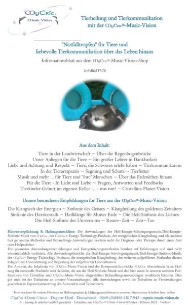 Tierheilung und Tierkommunikation - Informationsblatt in A5 Sammelmappe